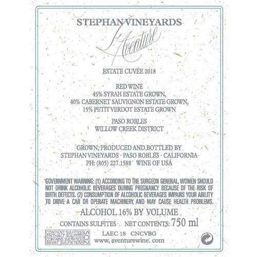 L'Aventure - Cuvée Estate - Stephan Vineyards - Paso Robles 2018