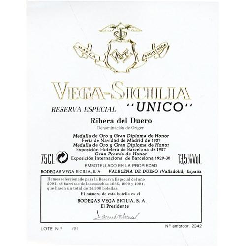 "Reserva Especial ""Unico"" - Bodegas Vega Sicilia Ribera del Duero 2011"