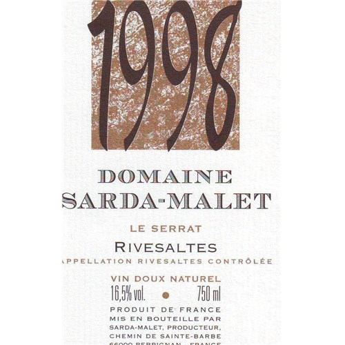 The Serrat - Domaine Sarda-Malet - Rivesaltes 1998